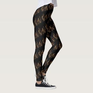Giraffe Pattern Logo With Giraffes, Black Leggings