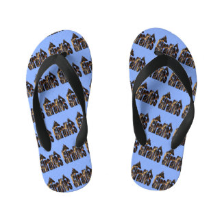 Giraffe Pattern Logo With Giraffes, Blue Kid's Flip Flops