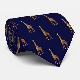 Giraffe Pattern On Dark Navy Blue Tie