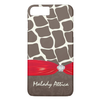 Giraffe Pattern Printed Ribbon Faux Crystal iPhone 7 Plus Case