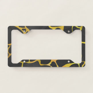 Giraffe pattern with black and yellow license plate frame
