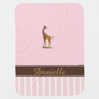 Giraffe Personalized Pink Baby Blanket