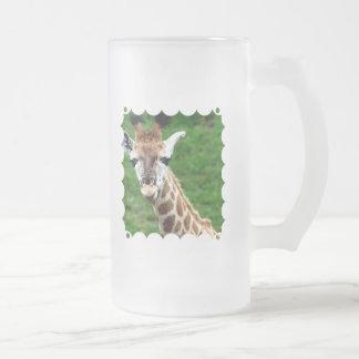 Giraffe Photo Frosted Beer Mug
