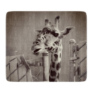 Giraffe Photograph - Vintage Style Cutting Board
