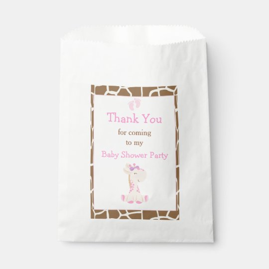 Giraffe Pink Girl Baby Shower Party Favour Bag