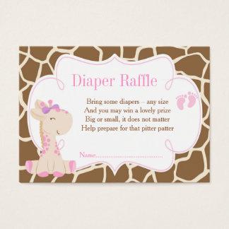 Giraffe Pink Girl Diaper Raffle Invitation