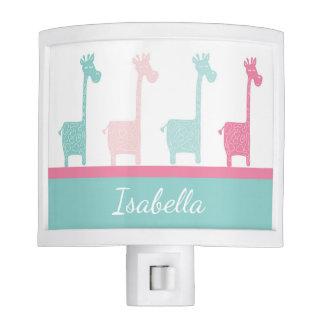 Giraffe Pink Mint Aqua Teal Night Light