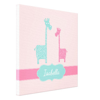 Giraffe Pink Mint Aqua Teal Wall Art Canvas