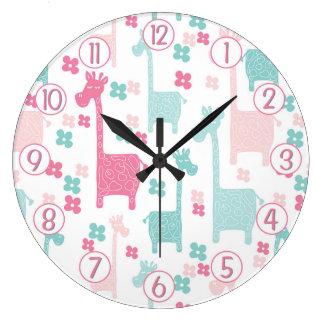 Giraffe Pink Mint Aqua Teal Wall Clock