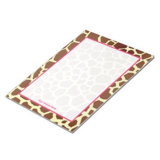 Giraffe & Pink Personalized Notepad