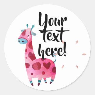 Giraffe pink themed party idea classic round sticker