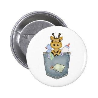 Giraffe pocket pal 2 inch round button