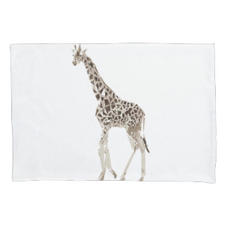 Giraffe polygon art illustration pillowcase