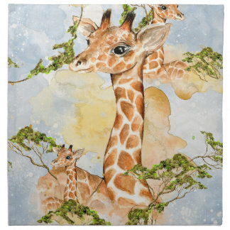 Giraffe Portrait Animal Picture Napkin