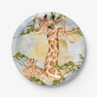 Giraffe Portrait Animal Picture Paper Plate
