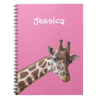 Giraffe Portrait on Pink Girly Name Notebooks
