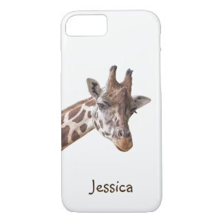 Giraffe Portrait on White Girly Name iPhone 8/7 Case