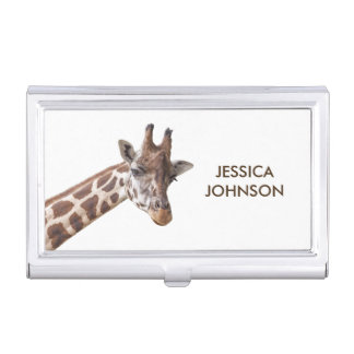 Giraffe Portrait Personalized Name Business Card Holders