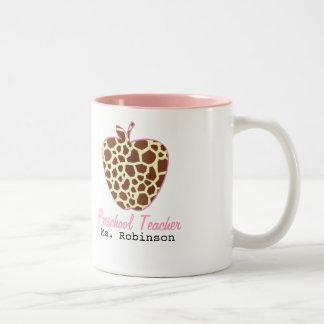 Giraffe Print Apple Preschool Teacher Two-Tone Mug