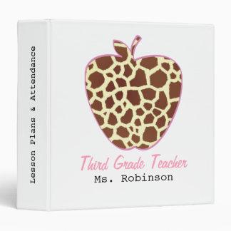 Giraffe Print Apple Third Grade Teacher Binder