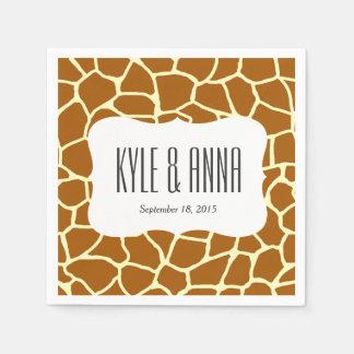 Giraffe Print Classic Brown Yellow Animal Pattern Paper Napkins