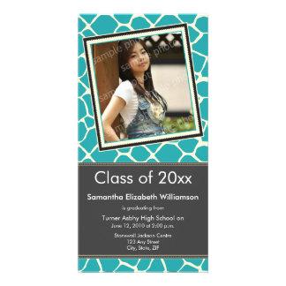 Giraffe Print Graduation Photo Announcement aqua Photo Cards