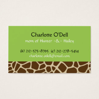 giraffe print green mommy card