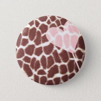 Giraffe Print Heart 2 Inch Round Button