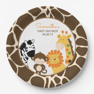 Giraffe Print Jungle Safari Animals Paper Plate