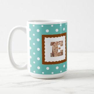 "Giraffe Print Letter ""E"" on Mint/White Polka Dots Coffee Mug"