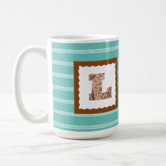 "Giraffe Print Letter ""L"" on Mint/White Pinstripes Coffee Mug"