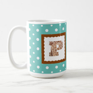 "Giraffe Print Letter ""P"" on Mint/White Polka Dots Coffee Mug"