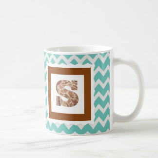 "Giraffe Print Letter ""S"" on Mint/White Chevron Coffee Mug"