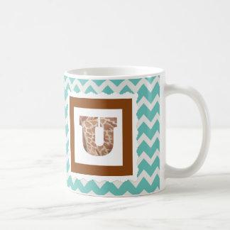 "Giraffe Print Letter ""U"" on Mint/White Chevron Coffee Mug"