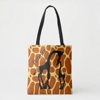 Giraffe Print Mother Baby Name Custom Tote Bag