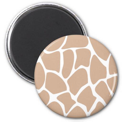 Giraffe Print Pattern in Beige. 2 Inch Round Magnet