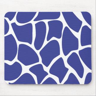Giraffe Print Pattern in Dark Blue. Mouse Pad