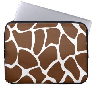 Giraffe Print Pattern in Dark Brown. Laptop Sleeves