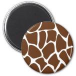 Giraffe Print Pattern in Dark Brown. Refrigerator Magnet