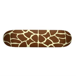Giraffe Print Pattern in Dark Brown. Skateboard