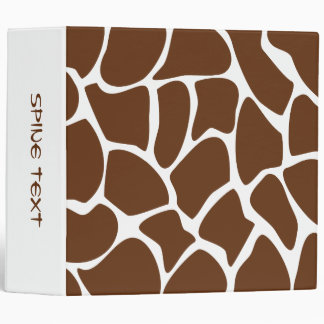 Giraffe Print Pattern in Dark Brown. Vinyl Binders