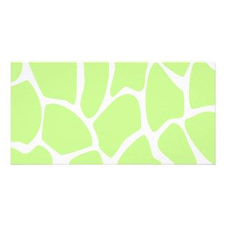 Giraffe Print Pattern in Light Lime Green. Photo Card Template