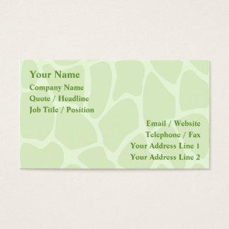 Giraffe Print Pattern in Lime Green. Business Card