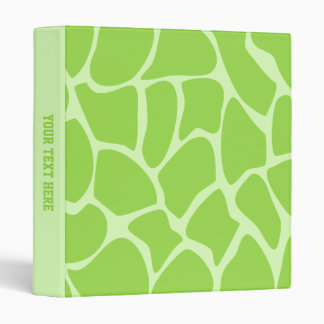 Giraffe Print Pattern in Lime Green. Vinyl Binder