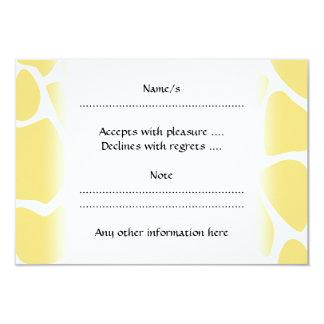 "Giraffe Print Pattern in Yellow. 3.5"" X 5"" Invitation Card"