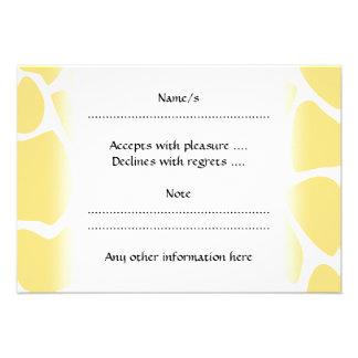 Giraffe Print Pattern in Yellow Custom Invites