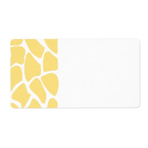 Giraffe Print Pattern in Yellow. Shipping Label