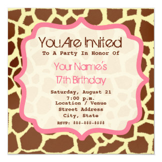 Giraffe Print & Pink Birthday Party Invitation