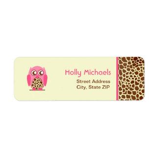 Giraffe Print & Pink Owl Address Labels