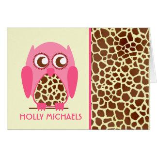 Giraffe Print & Pink Owl Notecard